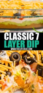 It's not a party without this classic 7 layer dip- it's one of those epic appetizers that people can't stop eating! Made with beans, guacamole, cheese, tomatoes and olives- you've got to make this for you next party!