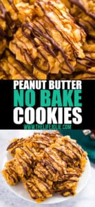 These Peanut Butter No Bake Cookies have just the right amount of crunch while also being chewy- they're a hit with both kids and adults without all the hassle of having to bake them!