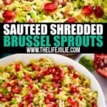 These Sautéed Shredded Brussel Sproutsand a festive holiday side dish recipe that's also super quick and easy to make! Made with Brussel Sprouts, Shallots, Pancetta, Holland House Sherry Cooking Wine and fresh Pomegranate Seeds.
