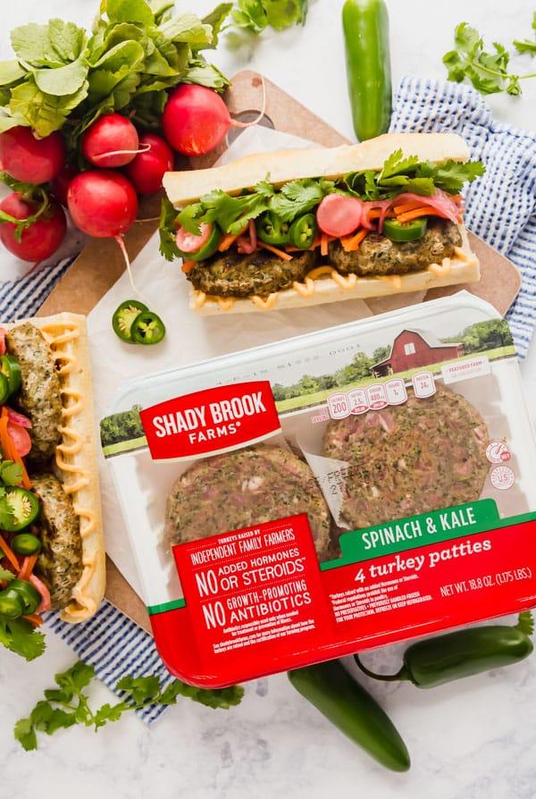 Shady Brook Farms Spinach & Kale Turkey Patties Banh Mi