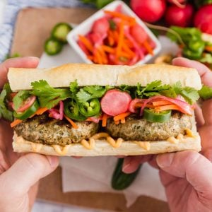 This easy Banh Mi Sandwich is a tasty twist on the traditional Vietnamese specialty. It's super easy to make and is a totally satisfying sandwich you'll want to make again and again!