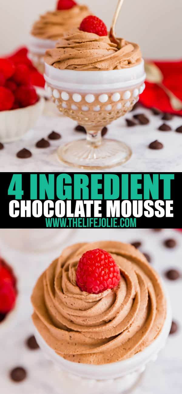 This Four Ingredient Chocolate Mousse whips up super quickly and easily. It's light as a feather with the most decadent, rich, chocolaty flavor with a rich dark chocolate flavor that you'll love! Make this for your loved ones this Valentine's Day!