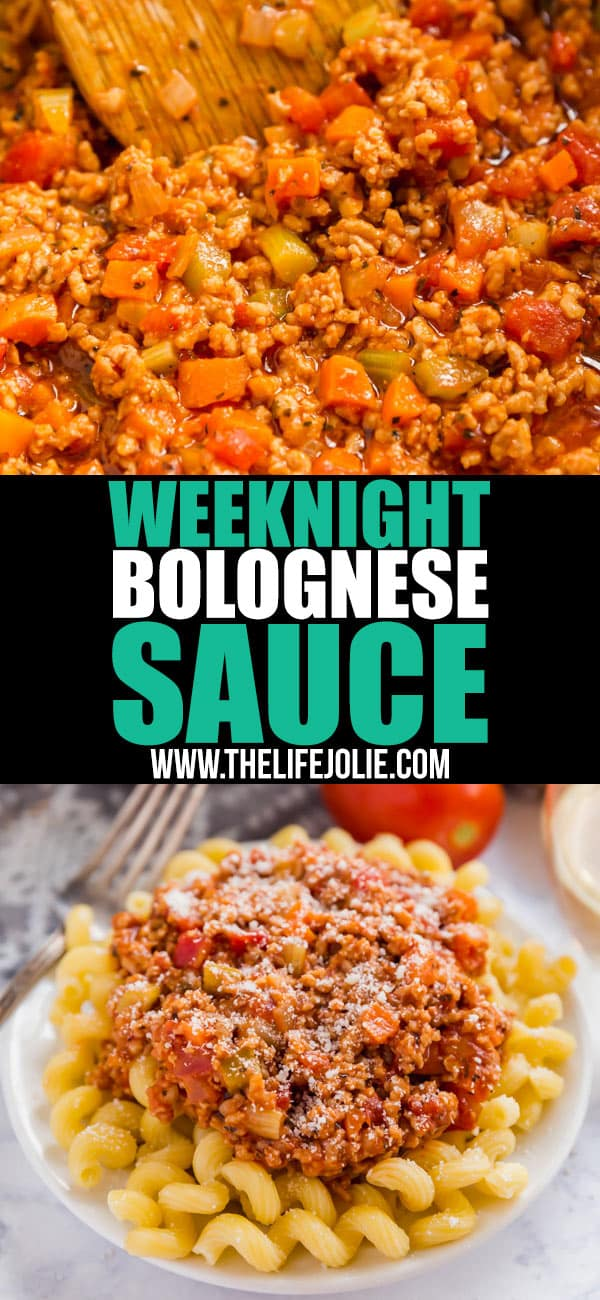 This simple Weeknight Bolognese Sauce made with ground veal comes together in less than 30 minutes and is bursting with delicious flavor! Serve it over zoodles for a carb conscious dinner that is as tasty as it is nutritious! #ad