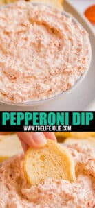 Make this 2 Ingredient Pepperoni Dip- it's a killer make ahead dip that keeps everyone coming back for seconds! Made with just sour cream and pepperoni, your friends will beg for this easy recipe!