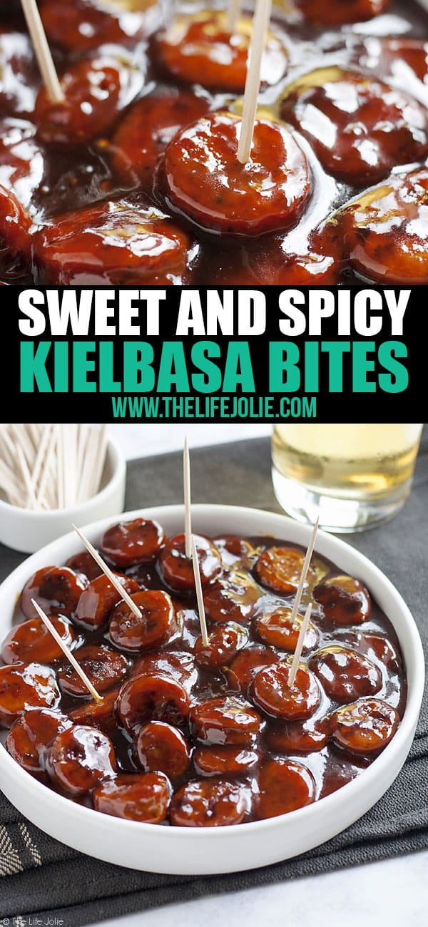 Sweet and Spicy Kielbasa Sausage Bites are such an easy recipe! Just 3 simple ingredients and these glazed sausage bites are sure to be a hit at any holiday or game day party!