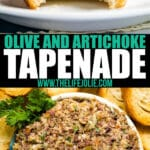 Olive and Artichoke Tapenade is the perfect easy snack to whip up for last minute guests! It's ready in 10 minutes and is perfect with a nice glass of wine.