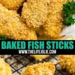 These baked fish sticks are an easy homemade version of the childhood meal we all know and love. Tender white fish with a crispy panko crust, they're are a quick and delicious dinner the whole family will love! This is an excellent weeknight meal.