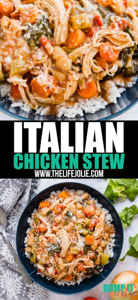 This Italian Chicken Stew is a warm and cozy dinner the whole family will love! It's easy to assemble and dump into a slow cooker or instant pot and you've got yourself a killer dinner!