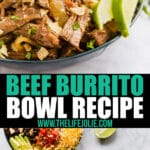 This Beef Burrito Bowl recipe is full of fantastic flavor and also easy to throw together! It's a tasty slow cooker or instant pot recipe the whole family will love!