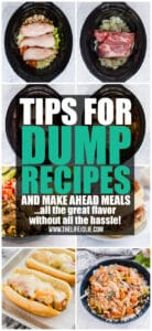 I'm excited to share some great tips, tricks and hacks for making preparing dump recipes and make ahead meals easier and more efficient! Check these out to make dinner preparation a breeze (plus tons of info about freezer cooking too!)