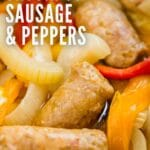 A close up image of Italian sausage and peppers and onions.