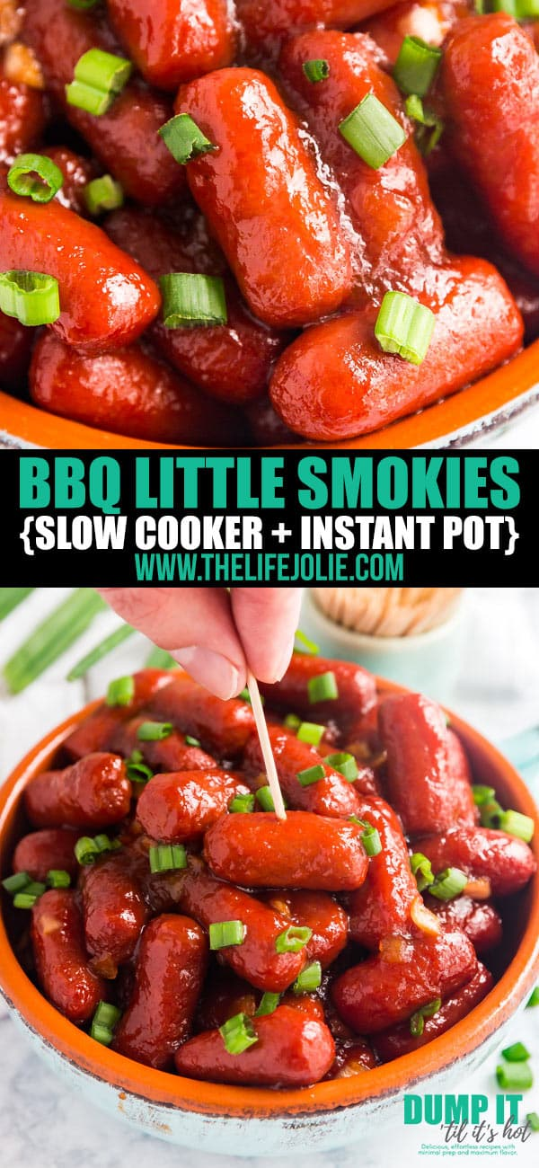 BBQ Little Smokies are everything you could possibly want for your game day spread! Savory cocktail wieners in a sweet and smoky sauce with almost no work on your part. These are the perfect dump-and-go appetizer!