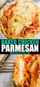 Baked Chicken Parmesan is a quick and easy version of a classic family favorite. Your family will fight for seconds!