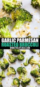 Garlic Parmesan Roasted Broccoli is a seriously easy side dish with a tasty kick of flavor. Just toss your broccoli florets with a few simple ingredients, pop them in the oven and you've go a deliciously addictive side dish!