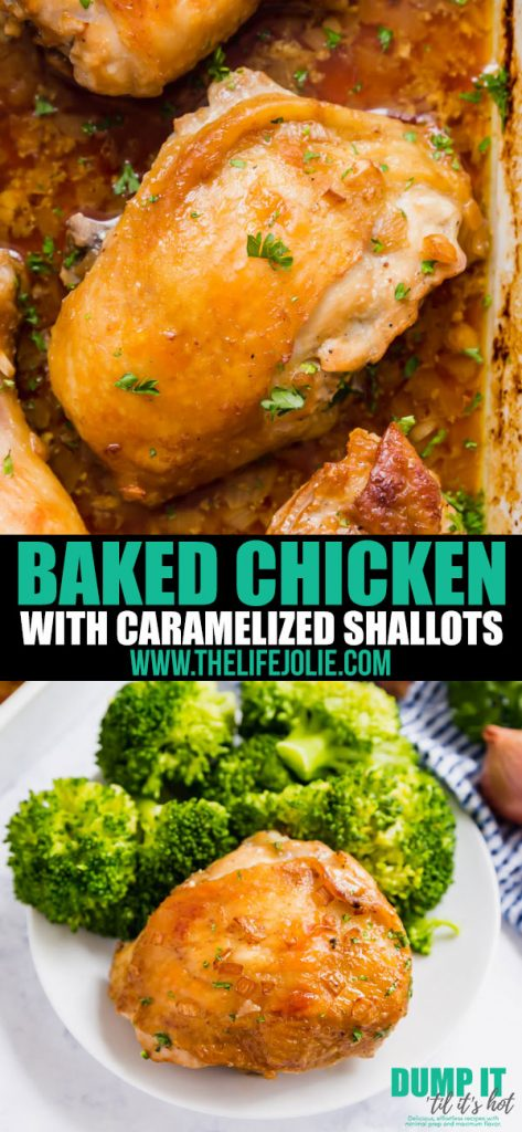 Baked Chicken with Caramelized Shallots is about to become your go-to weeknight roast chicken recipe. Tender chicken with crispy golden-brown skin and the most flavorful sauce, this easy recipe is a real winner!