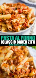 Pasta al Forno (or baked ziti as many call it) is a classic Italian dinner that is perfect for a cozy family gathering! This is also the perfect make-ahead dinner!