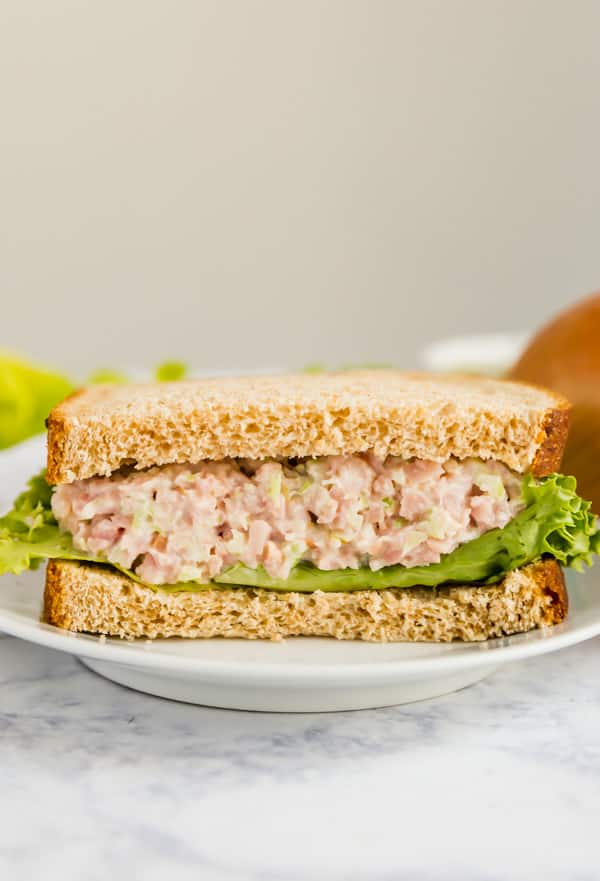 A half sandwich featuring this ham salad recipe