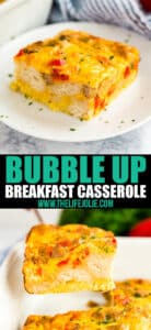 Do you hate when the bread in you breakfast Strata gets soggy? Then you've got to make Bubble Up Breakfast Casserole! It's easy, delicious and can even be made ahead!