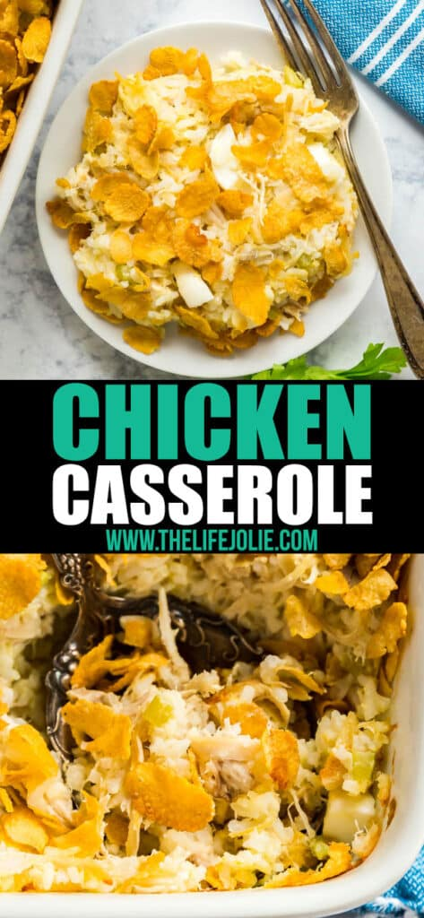 This is the Chicken Casserole to end all chicken casserole recipes! Creamy and delicious but also so easy to make- this is the perfect way to feed a crowd!