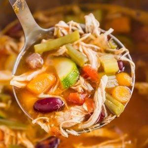 Chicken Minestrone is an easy and comforting soup to serve for an easy lunch or dinner. This classic minestrone soup is full of delicious vegetables and fall-apart-tender chicken, with a secret ingredient that gives the most fantastic flavor!