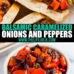 Balsamic Caramelized Onions and Peppers are the perfect addition to a spicy Italian Sausage sandwich. They're super easy to whip up with just a few ingredients!