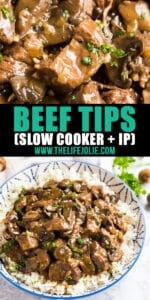 Making Beef Tips just got even easier when made in your crockpot or instant pot! This easy dump and go recipe for beef tips and rice gives you fall-apart-tender and juicy steak tips with a brown gravy that is super comforting. Get ready to watch your family fight for seconds!