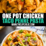 One Pot Chicken Taco Penne Pasta is the 30 minute meal of your dreams! Cheesy, creamy and full of great flavor, this easy Taco Pasta adds a great variation for Taco Tuesday.