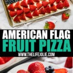 This American Flag Fruit Pizza is a festive dessert to bring to your next gathering! It's light, fresh and seriously easy to throw together.