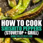 I put together some simple instructions for how to cook Shishito Peppers on the stove or the grill- Just three ingredients and you're ready to go! These super easy blistered peppers make the perfect snack!