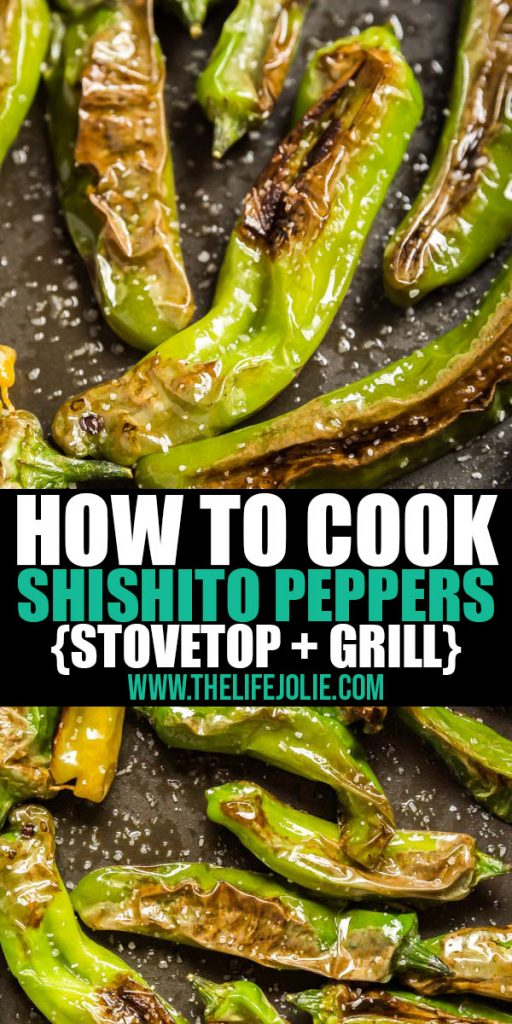 I put together some simple instructions for how to cook Shishito Peppers on the stove or the grill- Just three ingredients and you're ready to go! These super easy blistered peppers makethe perfect snack!