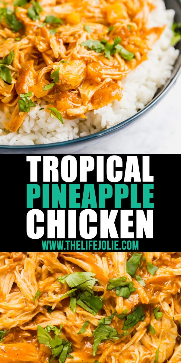 Do you want an easy, 3 ingredient dinner without a ton of work? Make this Tropical Pineapple Chicken in your Crockpot or Instant Pot and serve it over rice, in a sandwich or on top of a salad!
