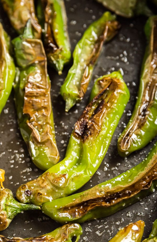 A close up image of this shishito peppers recipe in a pan