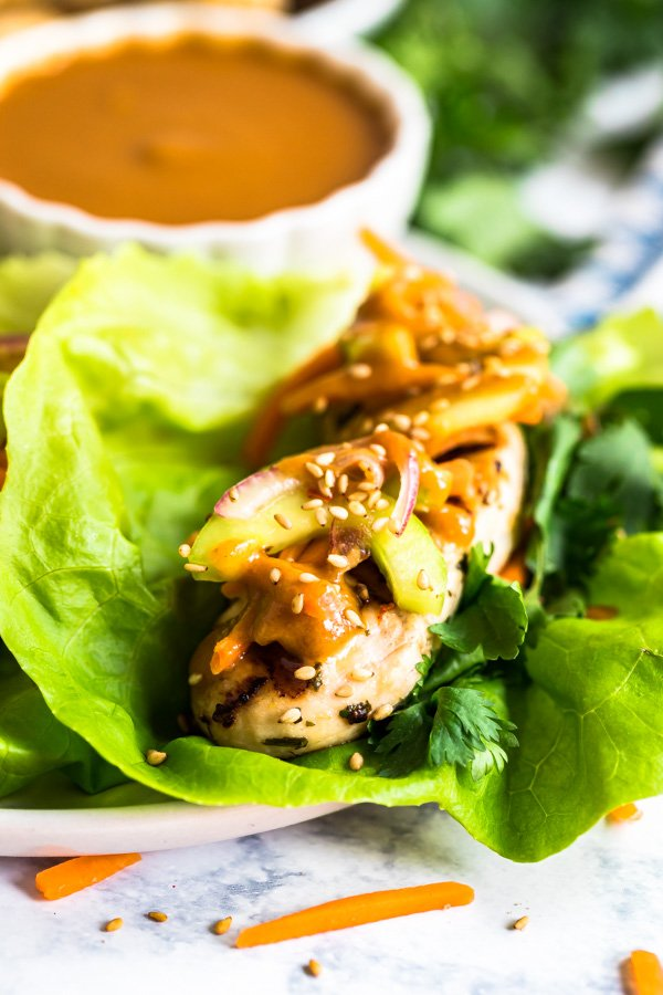 A close up image of the side of chicken lettuce wraps