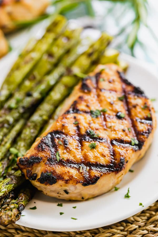 This grilled pork chop marinade recipe on a plate.