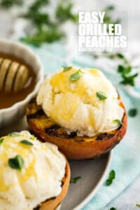 Easy Grilled Peaches are the quintessential summer dessert. Light and refreshing with the perfect scoop of vanilla ice cream, this simple dessert is sure to please!