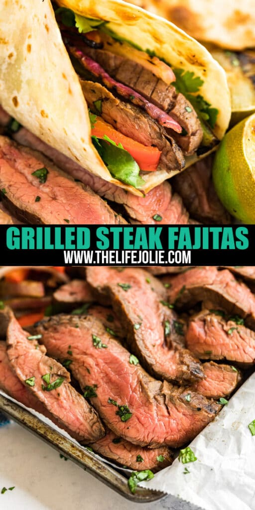Steak Fajitas are good, but Grilled Steak Fajitas are better! Tender flank steak makes a great fajita protein with charred peppers and onions- this is an easy dinner that's perfect for a summer get-together.