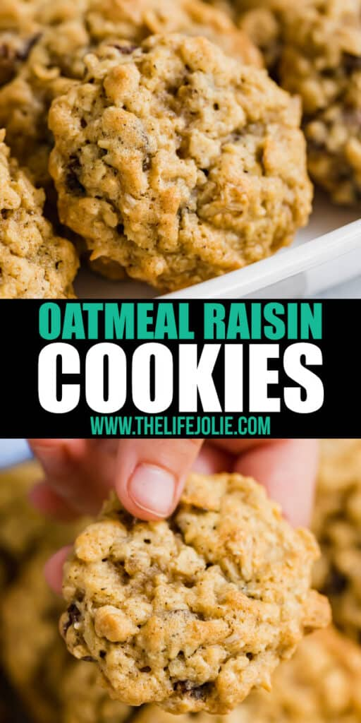 Oatmeal Raisin Cookies are a total blast from the past. Take one bite and you'll immediately be transported to those soft, delicious oatmeal cookies your mom used to make for after school snacks! They're an easy and delicious treat for the whole family.