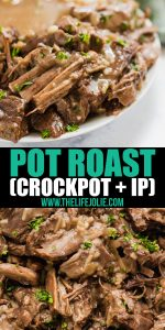 This Pot Roast Recipe couldn't be easier. Just throw a few very common ingredients into your crockpot or instant pot and then relax knowing you've got a seriously delicious dinner ahead of you!