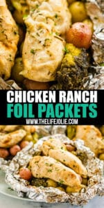 Ranch Chicken Foil Packets make a quick and easy dump dinner in a delicious little package. Throw them on the grill or pop them in the oven and you'll have a flavorful dinner on the table in under 30 minutes!