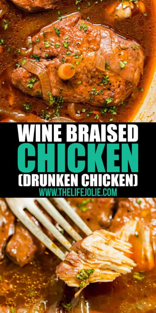 Wine Braised Chicken is the most mouthwatering, savory dinner you'll ever try! Slow simmered in red wine, this fall-apart-tender chicken is an easy dinner recipe the whole family will love.
