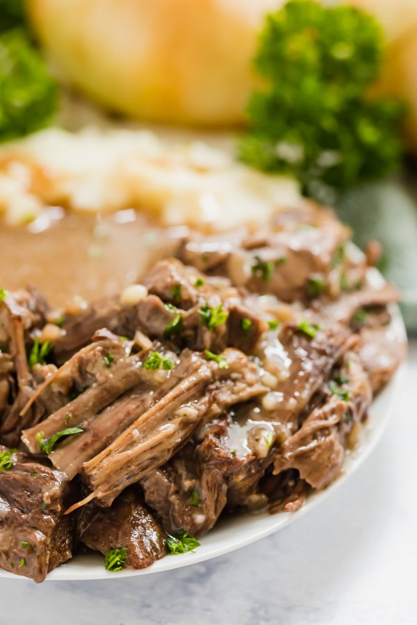 A close up image of pot roast on a plate.