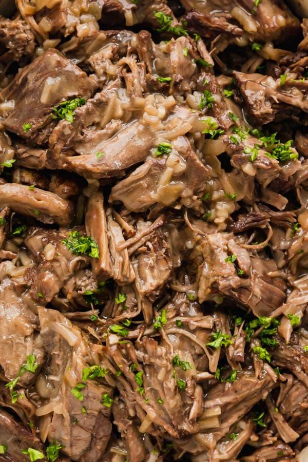 An overhead close up image of pot roast