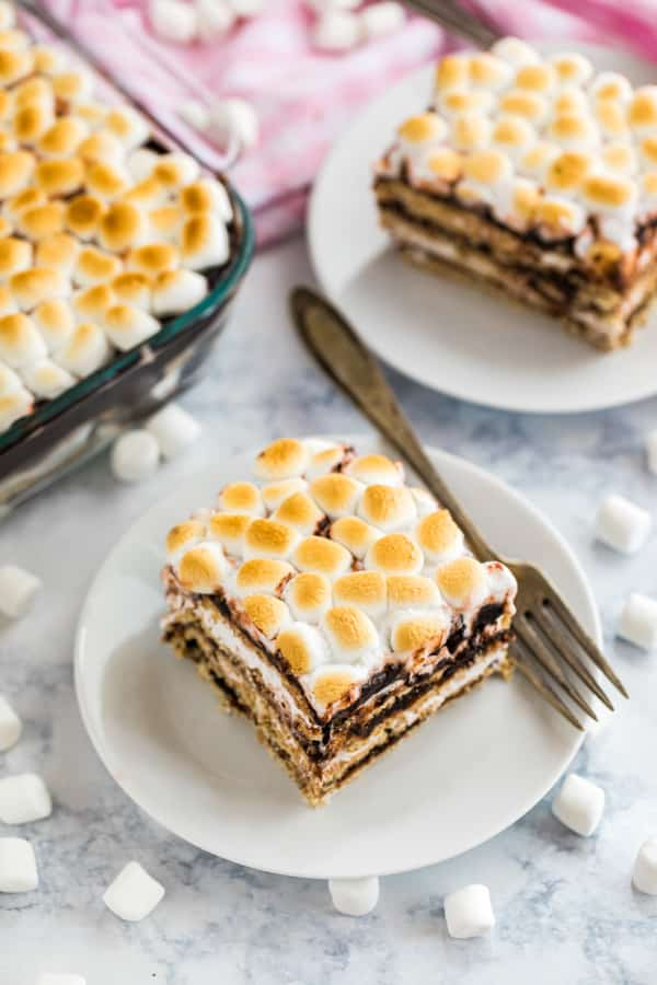 Smores cake on a plate.