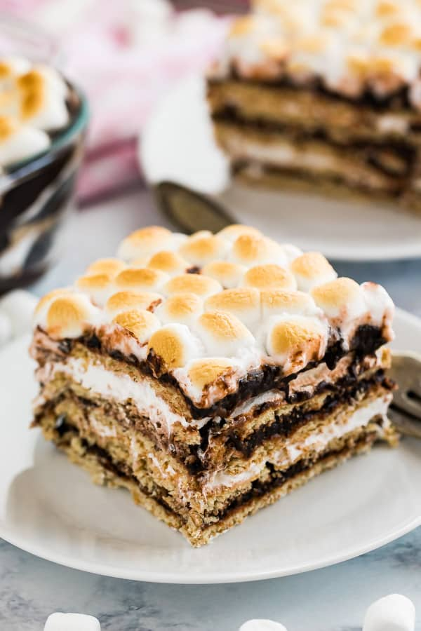 A slice of icebox cake on a plate.