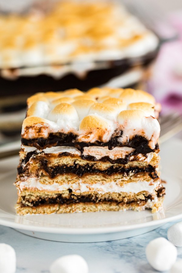 A straight-on shot of chocolate icebox cake showing all the layers.
