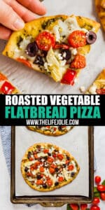 Need a good, meatless dinner or appetizer? This Roasted Vegetable Flatbread delivers! It's super easy to throw together and tastes fantastic.