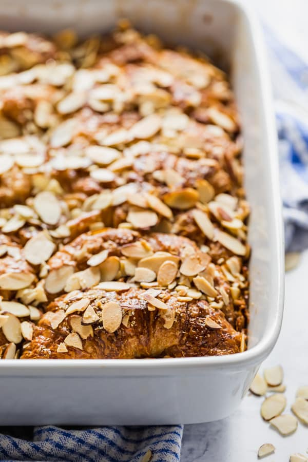 A full pan of french toast casserole.