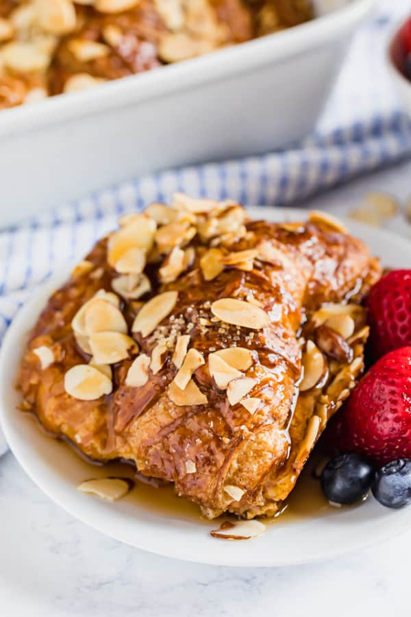 Croissant French toast bake on a plate.