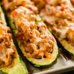 Italian Stuffed Zucchini Boats are the healthy weeknight meal you'll want to make again and again. This is a seriously easy recipe that's full of delicious flavor without all the guilt!