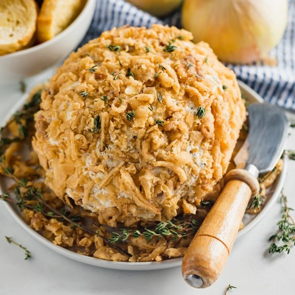 This French Onion Cheese Ball is a delicious savory appetizer that is sure to impress all your friends. It's also super easy to whip up!